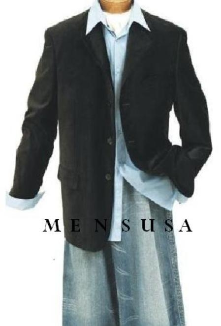 SKU# MUZ833GA New Black mens Two button style jacket velour blazer ...