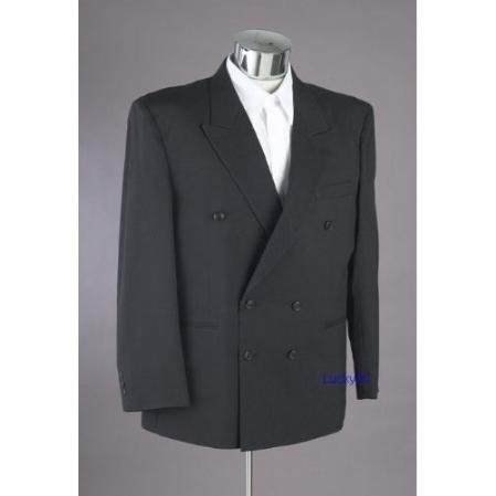 SKU#RB342 New Mens Double Breasted Black Dress Suit $159