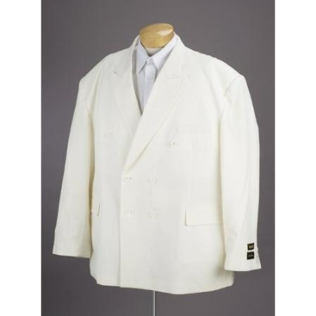 SKU#AV387 New Mens Double Breasted Cream Dress Suit $159