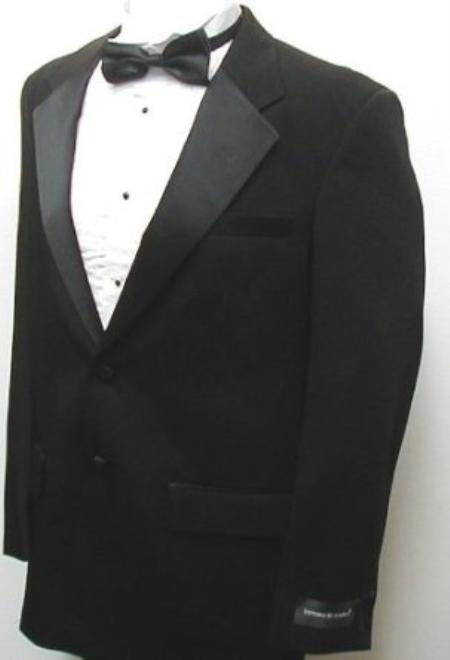 SKU#VP9097 Package Deal New Mens Fashionable Black Two Button Tuxedo - Five Pieces (5pc) $125