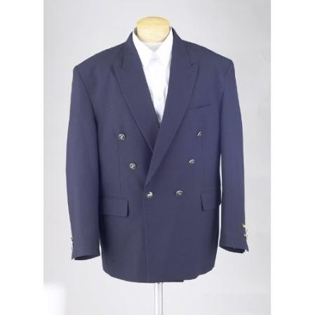 SKU#POE56 New Mens Navy Blue Double Breasted Dinner Blazer Suit Jacket