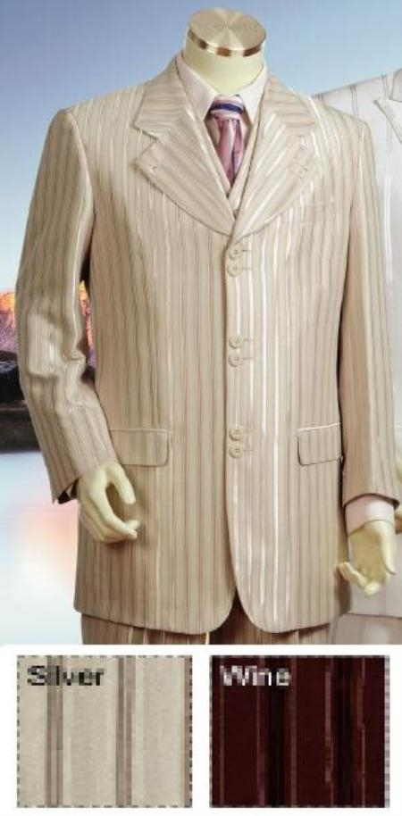 SKU#CANT66 New Style High Fashion Vested Suit in Silver Gray or Wine (Burgundy) $199