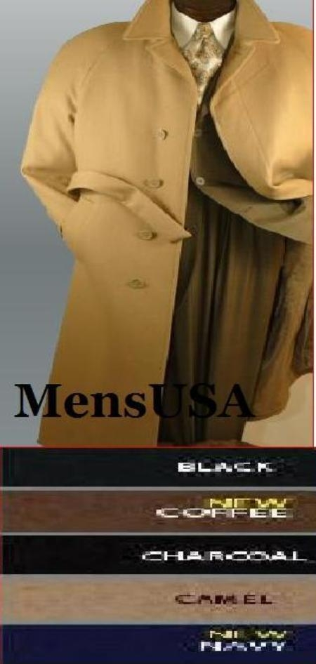 SKU#Coat06 mens Full length 51 inch Maxi Belted Overcoat 4 button Hidden Button Microfiber ~ Rayon blend top coat