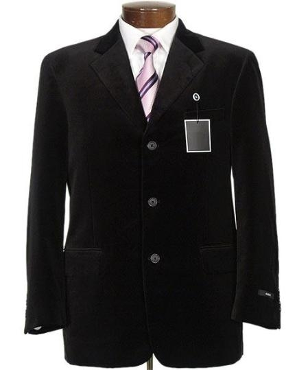 SKU#Z833GA New mens Two button style jacket velour blazer/Jacket~Sport Coat Black SUEDE Casual $149