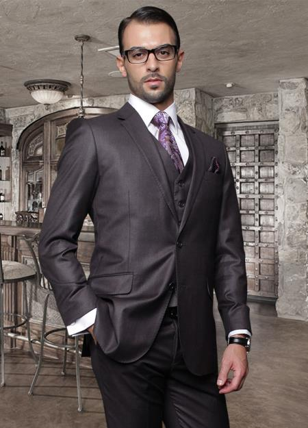 SKU#AR7516 Tapered Leg Lower rise Pants & Get skinny Nice 2 Button Solid Color Heather Charcoal Mens Suit with a Vest 3 Piece Tapered Slim Fitted Flat Front Pants Wool