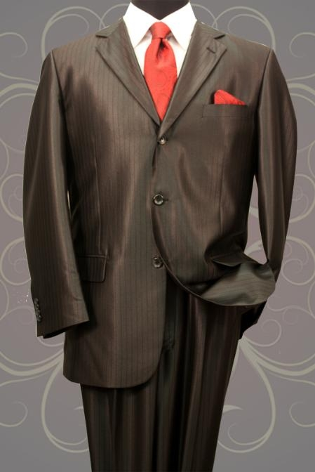 SH20 Nice 2PC 3 Button Tone On Tone Black Shark Skin Mens Suit $199