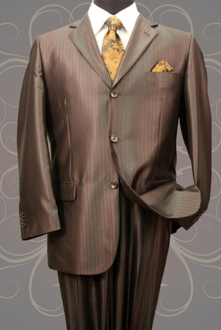 SH20 Nice 2PC 3 Button Tone On Tone Brown Shark Skin Mens Suit $199