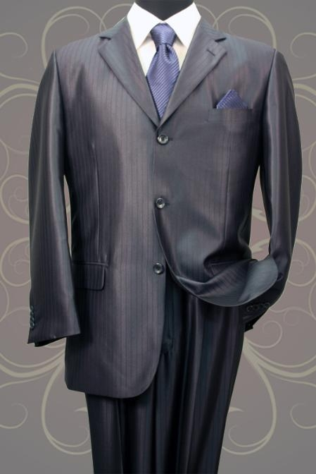SH20 Nice 2PC 3 Button Tone On Tone Navy Shark Skin Mens Suit $199