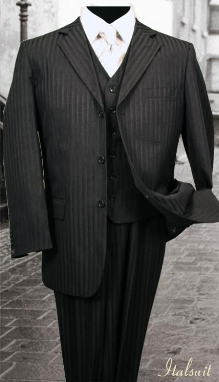 SKU#RH787 Nice 3PC 3 Button Black Tone On Tone Stripe ~ Pinstripe Mens three piece suit