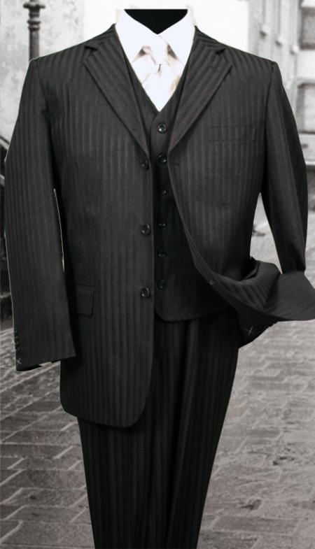 SKU#JU288 Nice 3PC Black Tone on Tone Stripe ~ Pinstripe Mens three piece suit With a Vest Available 2 Buttons Style Jacket