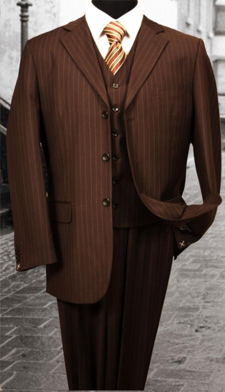 SKU#LS346 Nice 3PC 3 Button Brown Pinstripe Mens three piece suit With a Vest $179