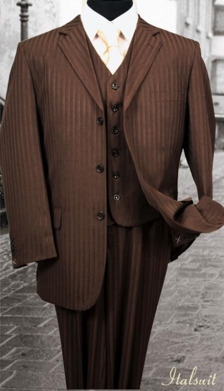SKU#DM462 Nice 3PC 3 Button Brown Tone On Tone Stripe Mens three piece suit $275
