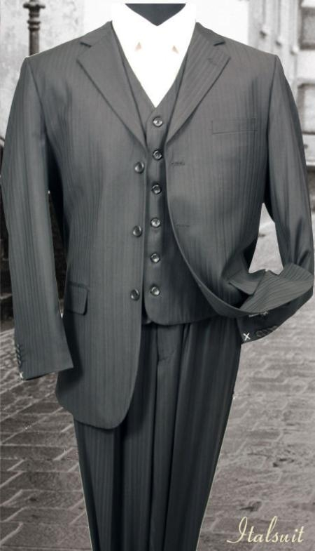 SKU#HF434 Nice 3PC 3 Button Charcoal Tone On Tone Stripe Mens three piece suit $275