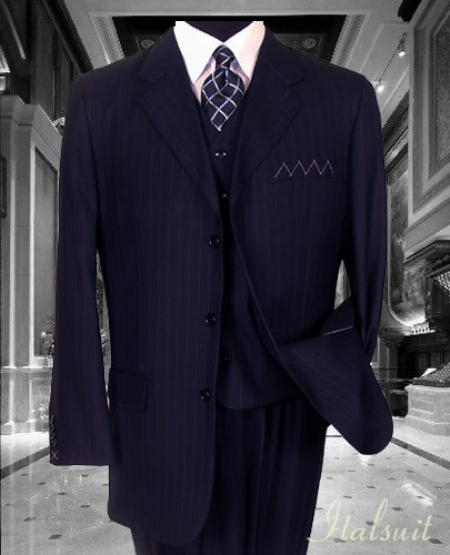 SKU#PQ3849 Nice 3PC 3 Button Navy Pinstripe Vested Mens Suit With Flat Front Pants $199