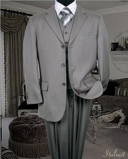 SKU#SL2022 Nice 3PC 3 Button Silver Pinstripe Vested Mens Suit With Flat Front Pants $199
