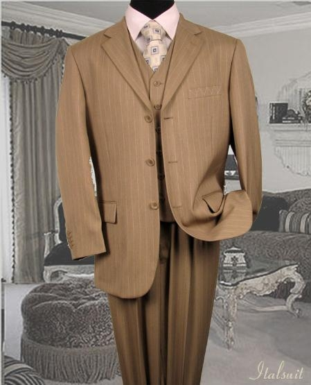 SKU#WZ8392 Nice 3PC 3 Button Tan Pinstripe Vested Mens Suit With Flat Front Pants $199