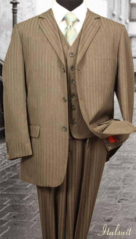 SKU#XH553 Nice 3PC 3 Button Taupe Tone On Tone Stripe Mens three piece suit $275