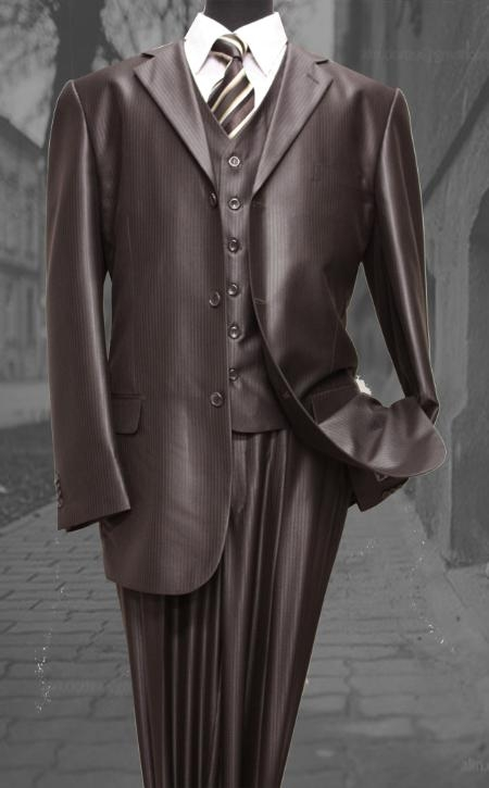 SKU#VX3829 Nice 3PC 3 Button Tone On Tone Brown Shark Skin Mens three piece suit $139