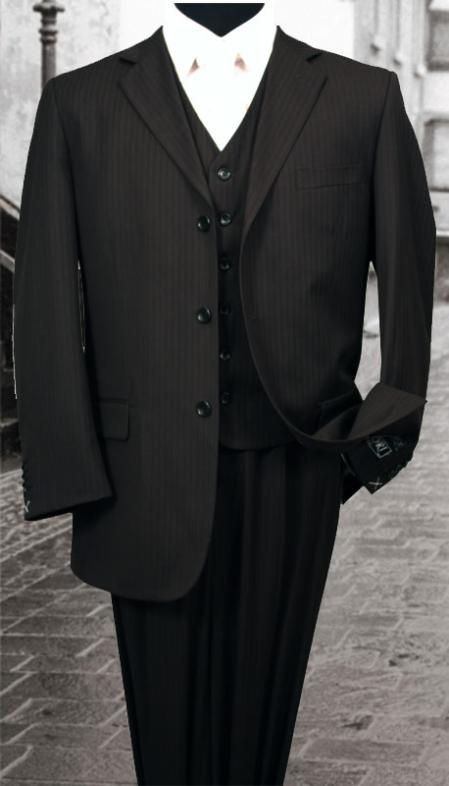SKU#PS323 Nice 3PC 3 Button Tone on Tone Black Mens three piece suit With a Vest $179