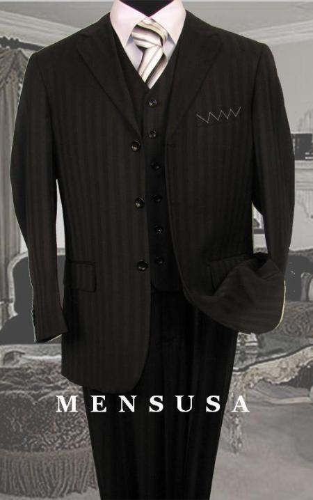SKU#SM08 Nicest Black Ton On Ton Pinstripe Vested 3 Buttons Mens Suits $139