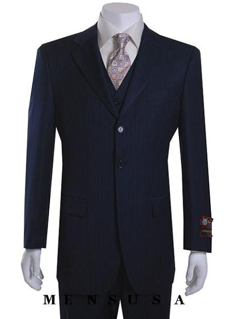 SKU#SM08 Nicest Navy Blue Ton On Ton Pinstripe Vested 3 Buttons Mens Suits $179