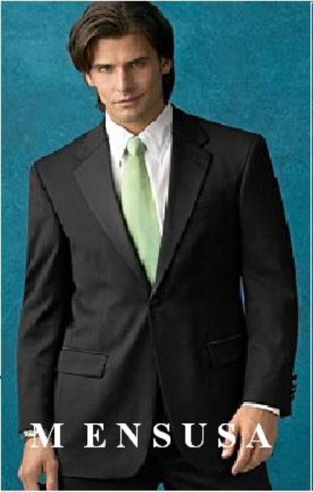 SKU# SLR55 Notch Color One Button Super 150s Wool + Shirt + Long Black tie $199