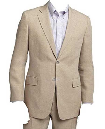 Mens Beige/Natural Two Piece Notch Lapel Linen Summer Double Vents Suit