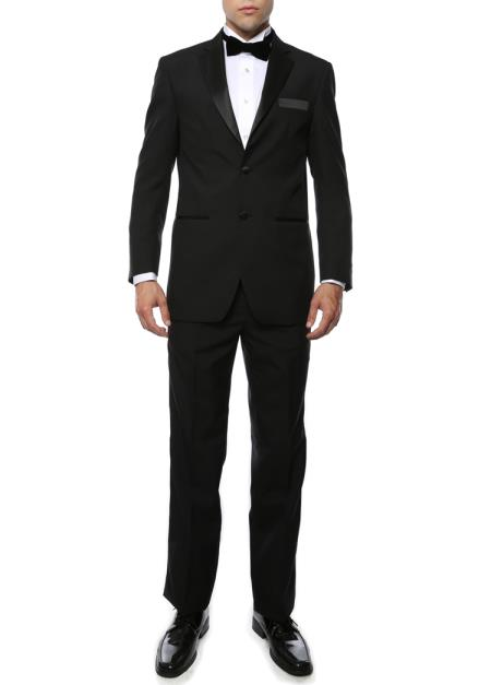Mens Black Satin Notch Lapel 2 Piece Polyester Fully Lined Tuxedo Suit