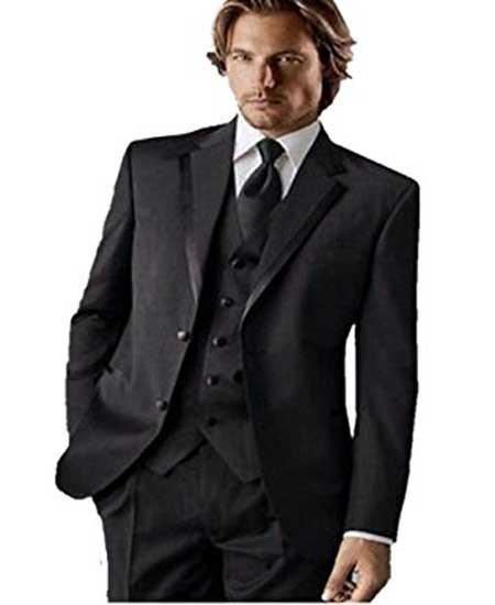 Men's Groomsman Trimmed  Classic Fit Black Tuxedo Vested Suit