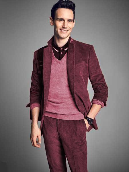 Mens Burgundy ~ Wine ~ Maroon Color Notch Lapel 2 Buttons Style CORDUROY SUIT ( Blazer Sportcoat + Slacks)