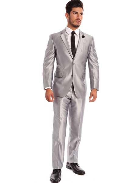 Mens Two Piece Silver Classic Fit Notch Lapel Sharkskin Solid Italian Styled Suit