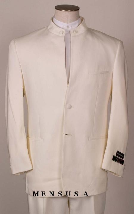 SKU#2HT OFF White~Ivory Split collar quality shoulder mens mandarin collar two button