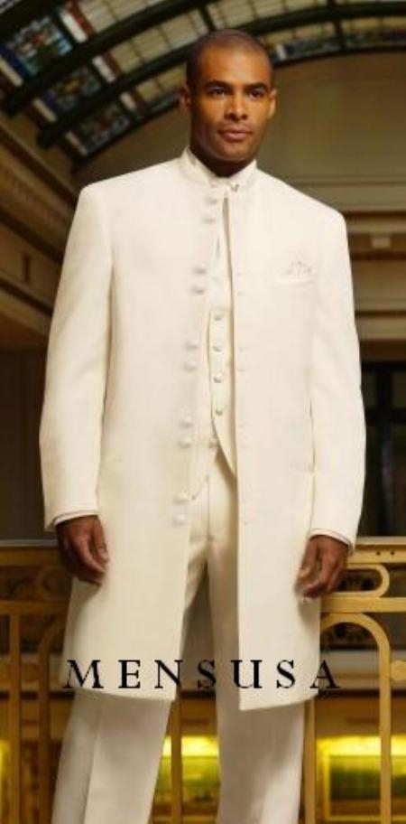 SKU# MUHM45GA OFF White/Ivory Matrix Style White 45 Icnh Full Length Mandarin Collar 10 Button (5x2 P) $189