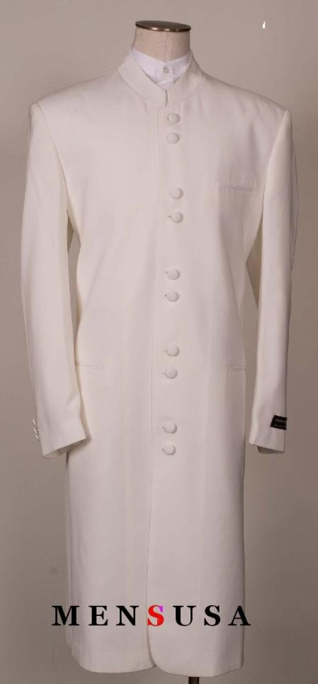SKU#MUHM4 OFF White Matrix Style White 45 Icnh Full Length Mandarin Collar 10 Button (5x2)