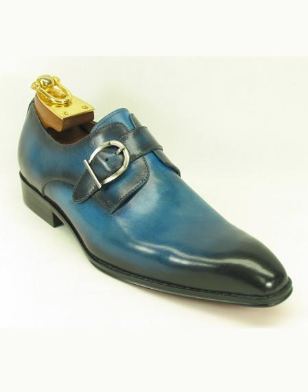 Men's Slip On Side Single Buckle Style Ocean Blue Teal Dress Shoe Fashionable Carrucci Shoes - Teal Dress Shoe - Antique blue Shoe