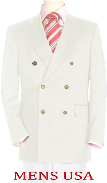 SKU#OFW712 High Quality Off White Double Breasted Blazer with Peak Lapels