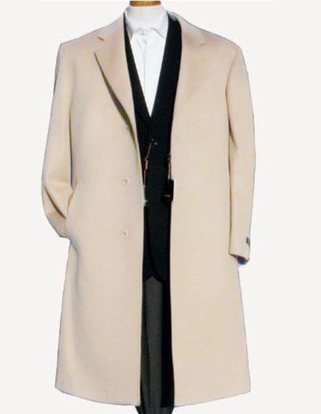 Wool Overcoat ~ Long Men's Dress Topcoat -  Winter coat Off White ~ Ivory ~ Cream