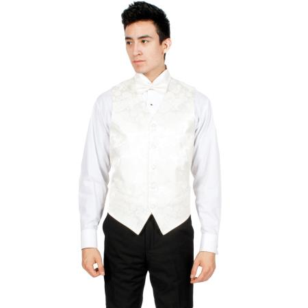 Mens Off-White P A I S L E Y Vest Bowtie Necktie & Handkerchief Set Also available in Big and Tall Sizes