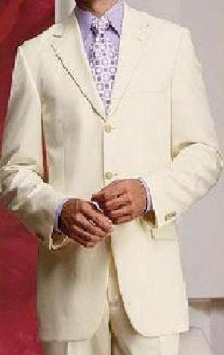 SKU# 3BW9 Cream ~ Ivory ~ Off White Super Fine Light  Weight Four Season Suit