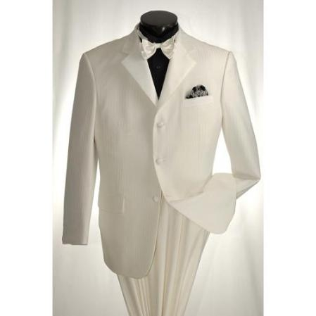SKU#KJ837 Off White 3 Button Tuxedo Cream Color Tone on Tone Stripe $169