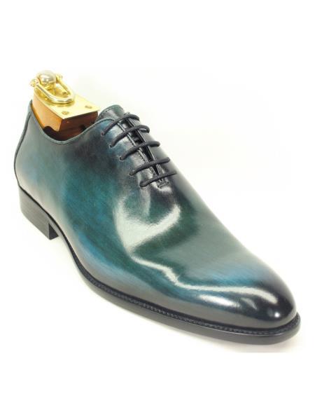 Mens Green Dress Shoes Carrucci Mens Lace Up Genuine Calfskin Leather Olive Oxford Shoes - Teal Dress Shoe - Antique blue Shoe