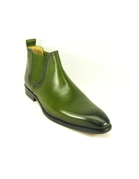 Mens Slip On Olive Burnished Leather Boot