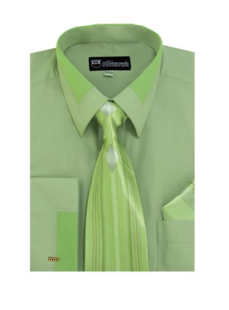 Olive Spread Collar  French Cuff + Tie + Handkerchief Set Men's Dress Shirt