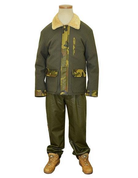 G-Gator Mens Olive Genuine Leather/Wool Military Fur Collar Jacket