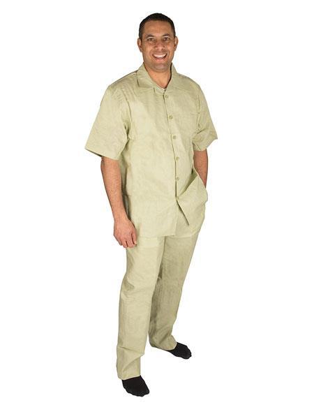Mens Button Closure Olive Short Sleeve 100% Linen 2 Piece Shirt Walking Leisure Suit
