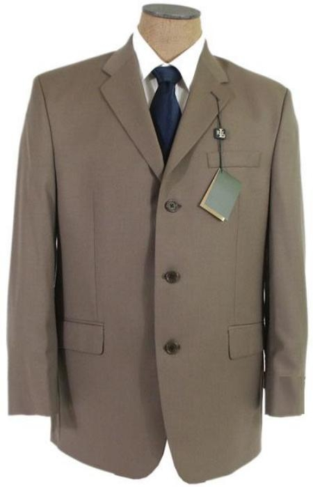 SKU# KU3 Olive/Taup/Brown Three Buttons Super 120s Wool Business Conservative Suits $149