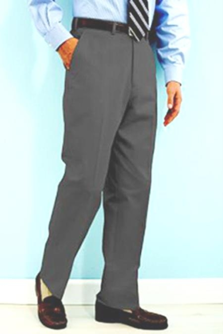 SKU#NN441 PA-100 Gray premier quality italian fabric Flat Front Mens Wool Dress Pants Hand Made Relax Fit