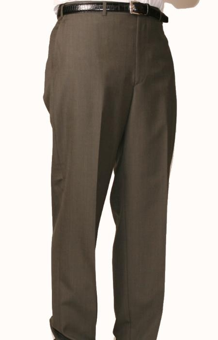 SKU#OL9044 Olive Bond Flat Front Trouser $69