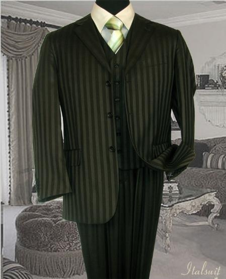 SKU#UB456 Olive Classic 3PC 3 Button Tone On Tone Mens three piece suit $275