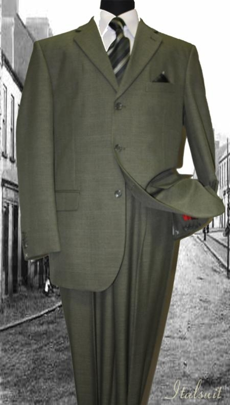 SKU#KP2001 Olive Classic 2PC 3 Button Mens Suit $139